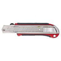 Нож, 25 мм, выдвижное лезвие, усиленная метал. направляющая, метал. обрезин. ручка, MATRIX Master