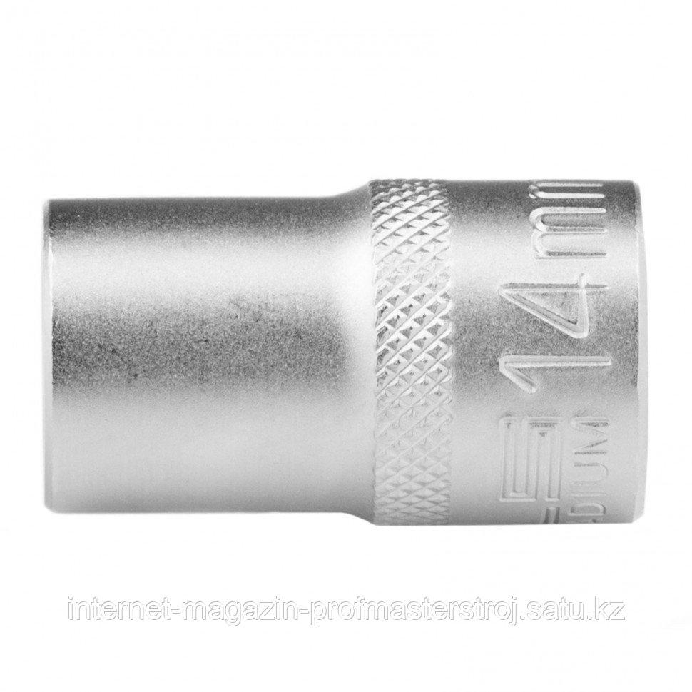 Головка торцевая 14 мм, двенадцатигранная, CrV, под квадрат 1/2, хромированная. STELS