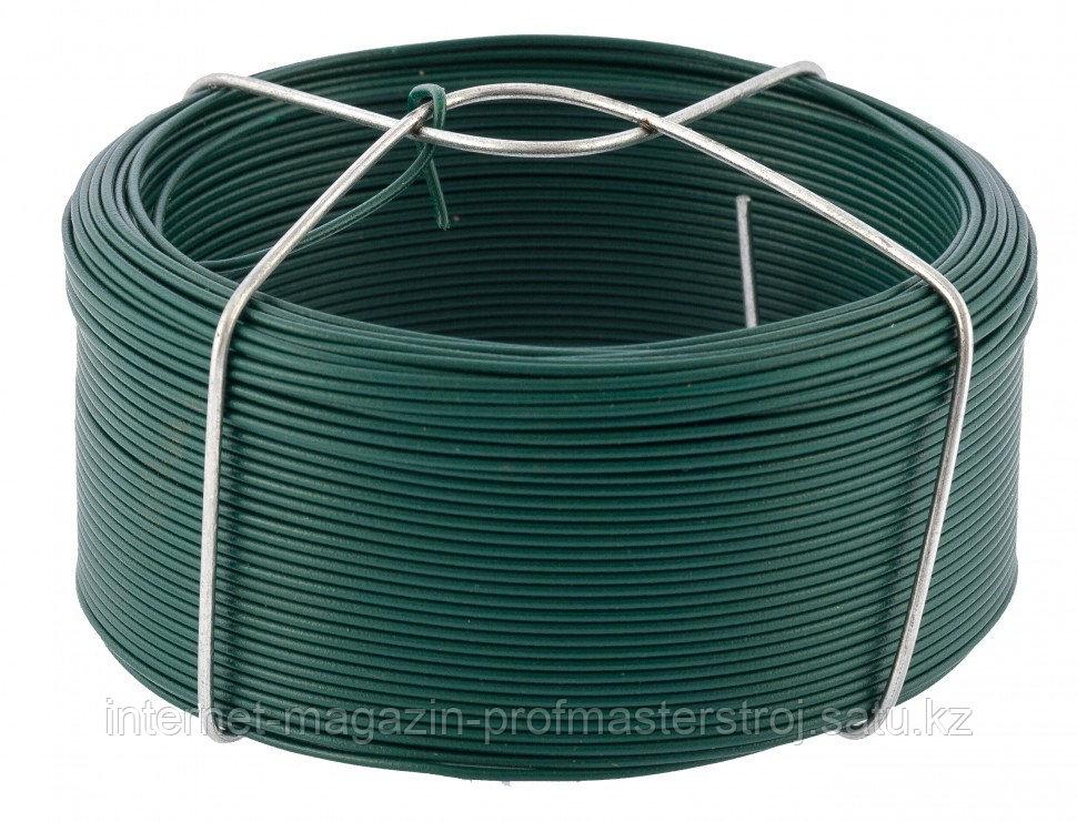 Проволока с ПВХ покрытием, зеленая 1,2 мм, длина 50 м. СИБРТЕХ