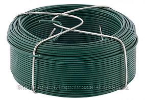 Проволока с ПВХ покрытием, зеленая 1,5 мм, длина 50 м. СИБРТЕХ
