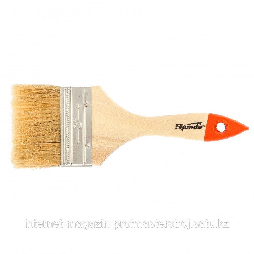 """Кисть плоская SLIMLINE 3"""" (75 мм), натуральная щетина, деревянная ручка, SPARTA"""