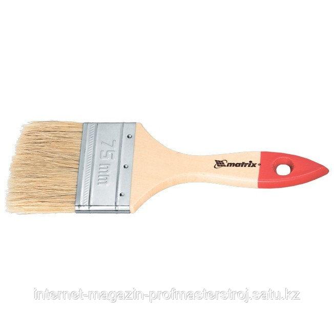"""Кисть плоская """"СТАНДАРТ"""" 3"""" (75 мм), натуральная щетина, деревянная ручка, MATRIX"""