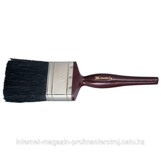 """Кисть плоская """"ДЕКОР"""" 2"""" (50 мм), натуральная черная щетина, деревянная ручка, MATRIX"""