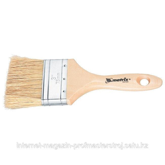 """Кисть плоская """"ЕВРО"""" 2"""" (50 мм), натуральная щетина, деревянная ручка, MATRIX"""