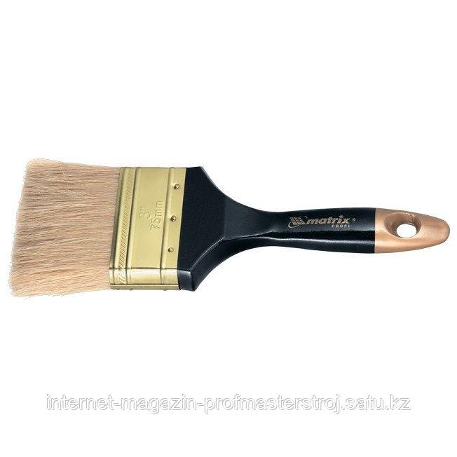 """Кисть плоская """"ПРОФИ"""" 3"""" (75 мм), натуральная щетина, деревянная ручка, MATRIX"""