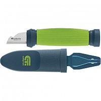 Нож монтажника с чехлом (заточка справа), обрезиненная рукоятка, 154 мм, лезвие 31 мм. СИБРТЕХ