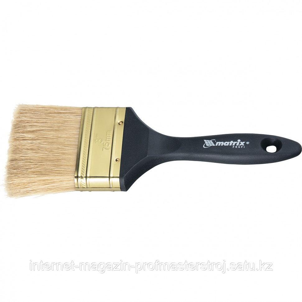 """Кисть плоская """"ПРОФИ"""" 2.5"""" (63 мм), натуральная щетина, пластмассовая ручка, MATRIX"""
