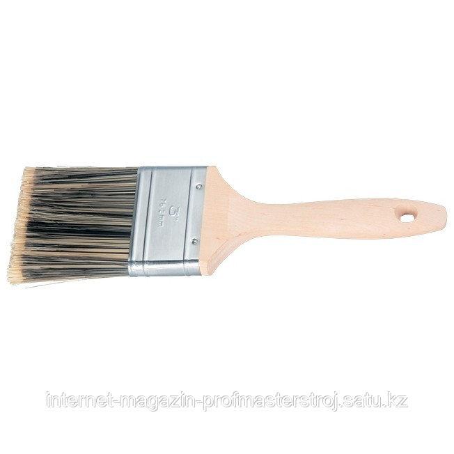 """Кисть плоская """"GOLDEN"""" 2"""" (50 мм), искусственная щетина, деревянная ручка, MATRIX"""