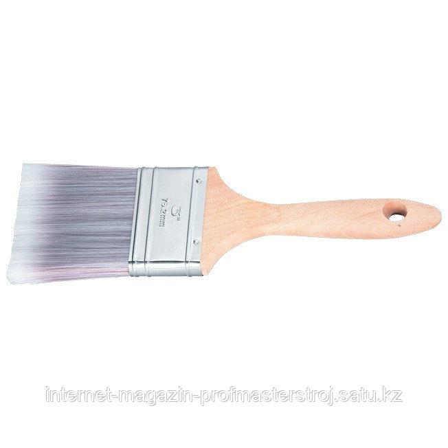 """Кисть плоская """"PLATINUM"""" 2.5"""" (63 мм), искусственная щетина, деревянная ручка, MATRIX"""
