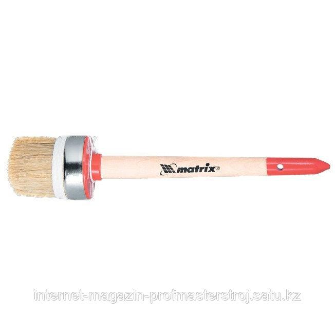"""Кисть круглая """"ПРОФИ"""" №6 (30 мм), натуральная щетина, деревянная ручка, MATRIX"""