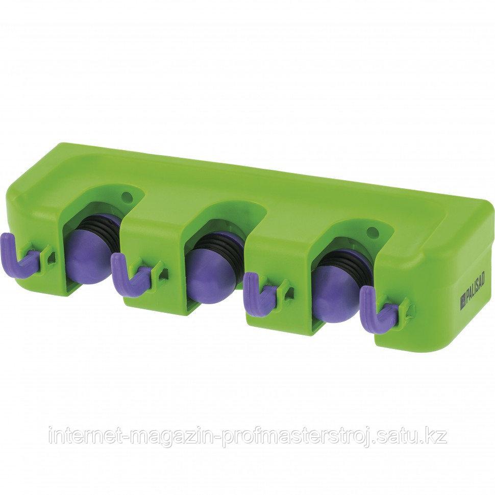 Настенный держатель для садового инструмента, 3 ячейки, 4 крюка. PALISAD