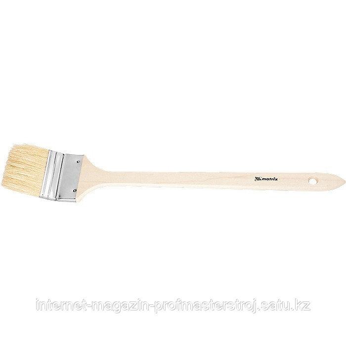 """Кисть радиаторная 3"""" (75 мм), натуральная щетина, деревянная ручка, MATRIX"""