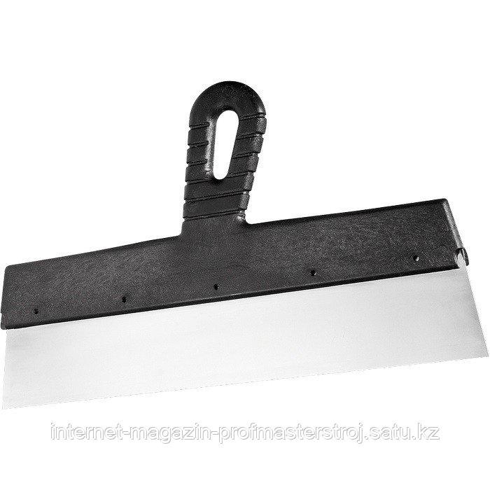 Шпательная лопатка из нержавеющей стали, 350 мм, пластмассовая ручка, СИБРТЕХ