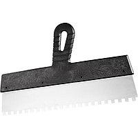 Шпатель из нержавеющей стали, 250 мм, зуб 4x4 мм, пластмассовая ручка, СИБРТЕХ Россия