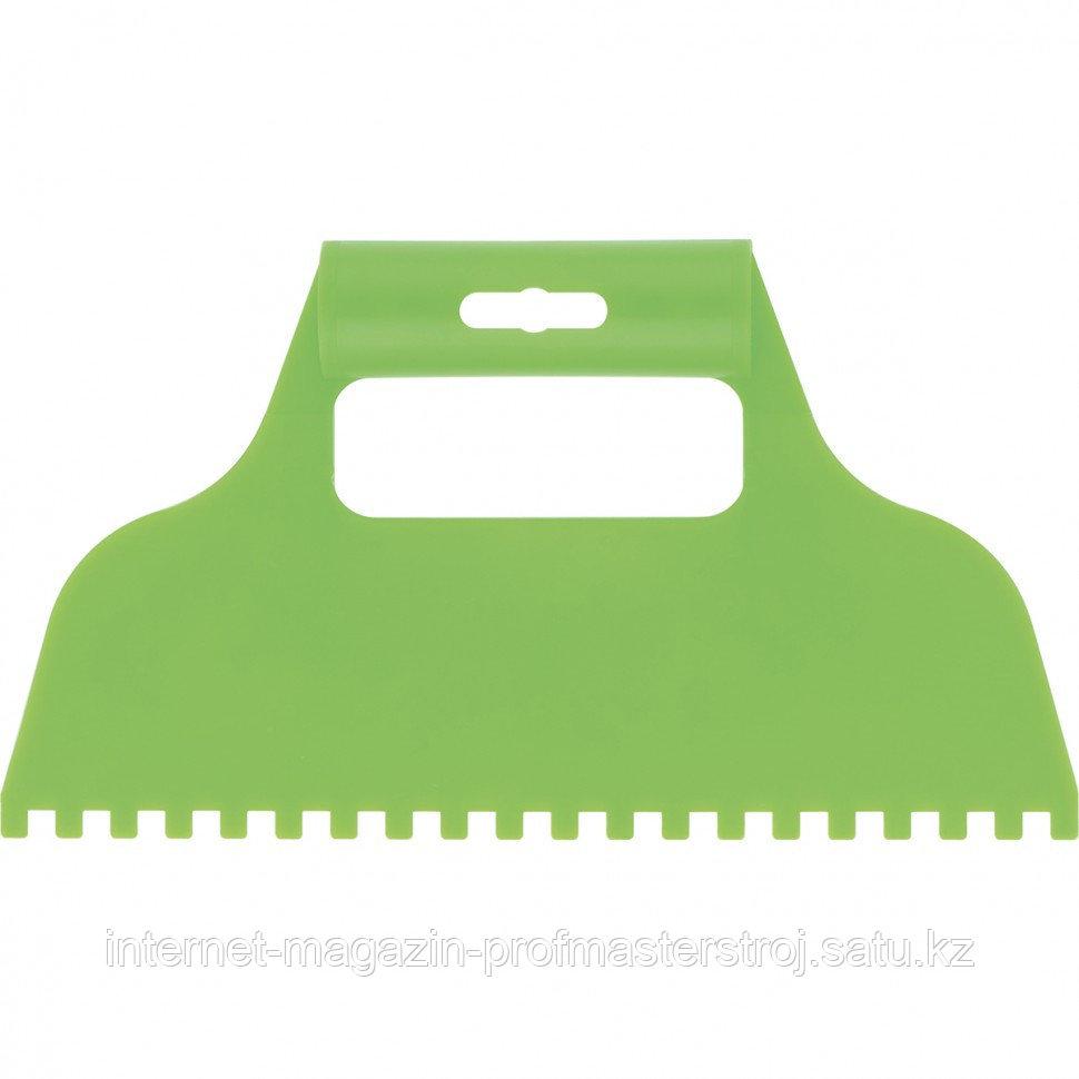 Шпатель для клея, пластмассовый, зубчатый 6x6 мм, СИБРТЕХ