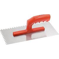 Гладилка стальная, 280x130 мм, зеркальная полировка, пластмассовая ручка, зуб 6x6 мм, MATRIX