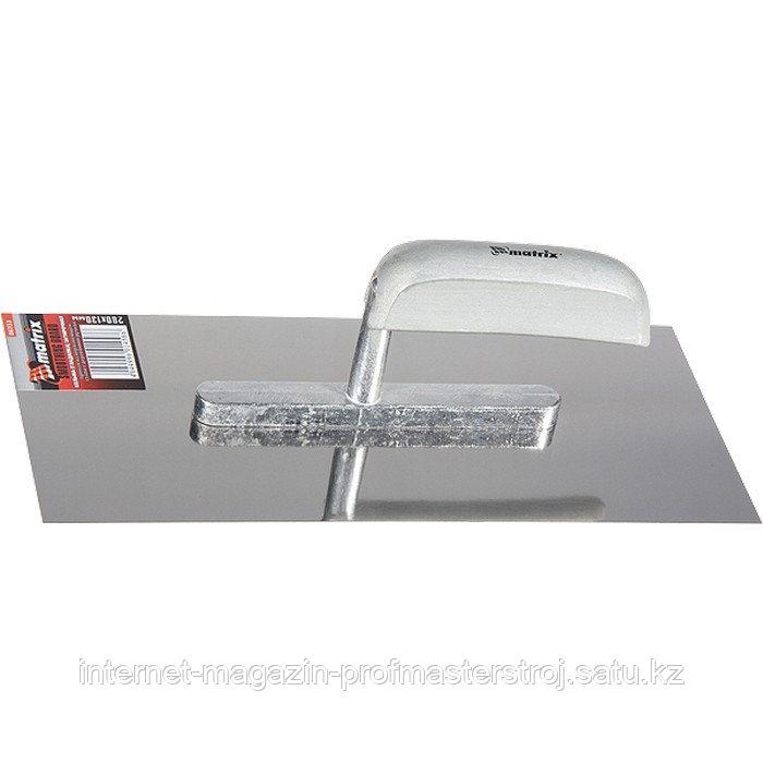Гладилка из нержавеющей стали, 280x130 мм, деревянная ручка, MATRIX