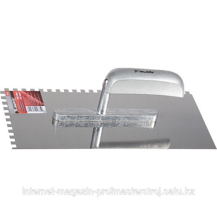 Гладилка из нержавеющей стали, 280x130 мм, деревянная ручка, зуб 6x6 мм, MATRIX