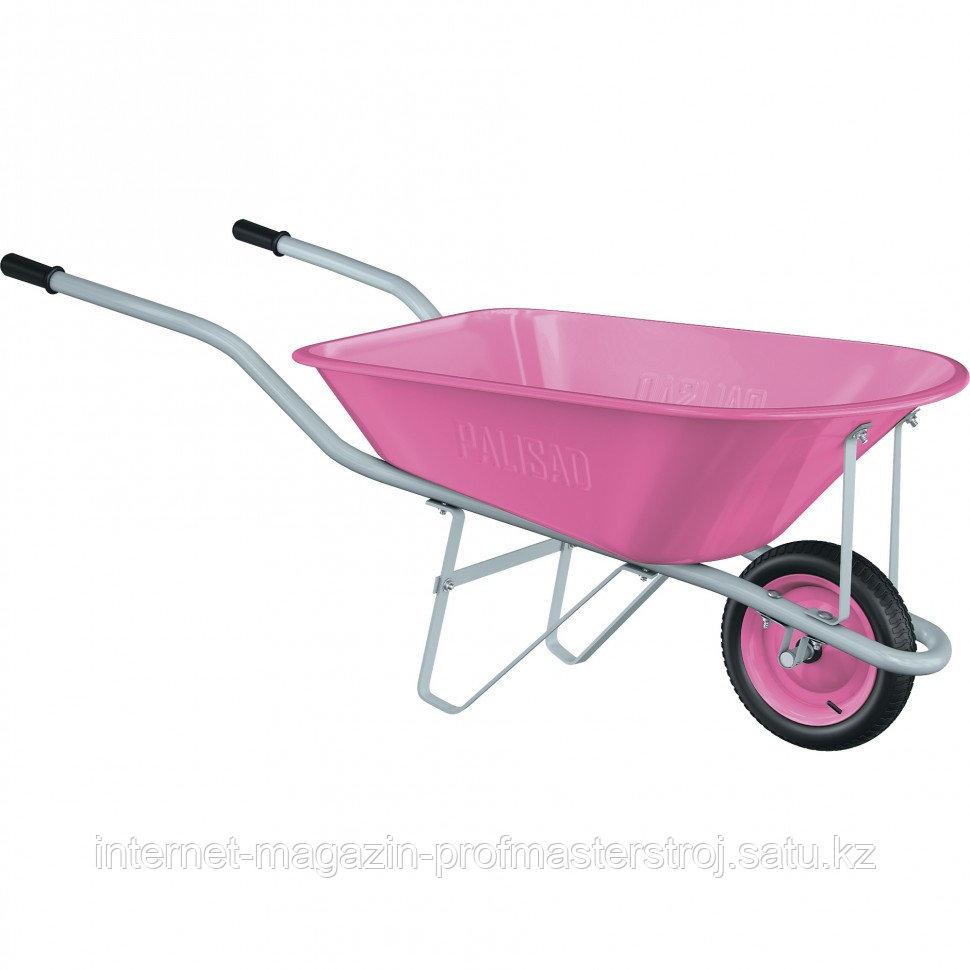 Тачка садовая Pink Line, одноколесная, объем 78 л. PALISAD
