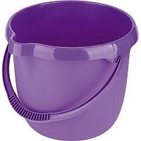 Ведро пластмассовое круглое 12 л, фиолетовое, TM ELFE Light Россия
