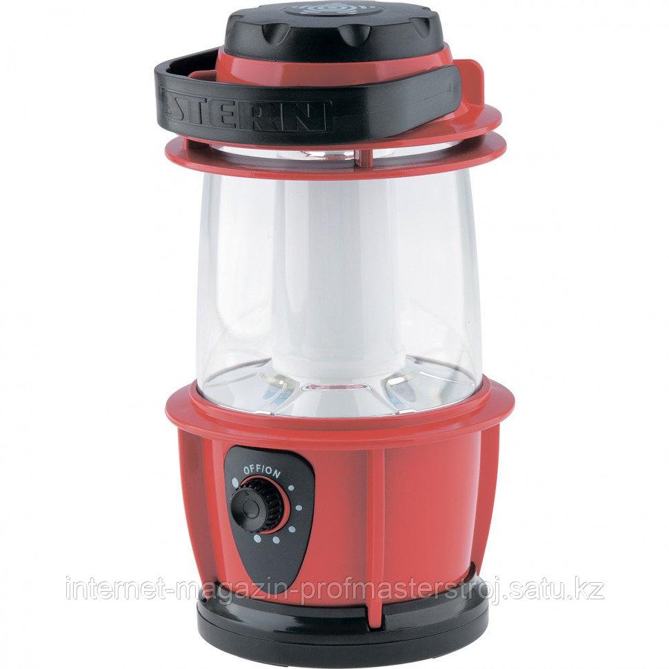 Фонарик кемпинговый, светодиодный, с регулятором яркости, пластиковый корпус, 12 LED, 3xAA, STERN