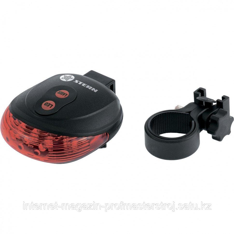 Фонарь велосипедный с лазерным обозначением габаритов, 5 LED + 2 лазера, 2xAAA, STERN