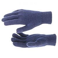 Перчатки трикотажные, акрил, двойные, синий, двойная манжета, Россия. СИБРТЕХ