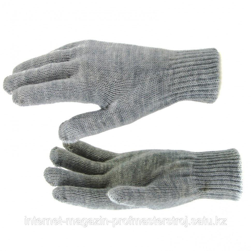 Перчатки трикотажные, акрил, двойные, серая туча, двойная манжета, Россия. СИБРТЕХ