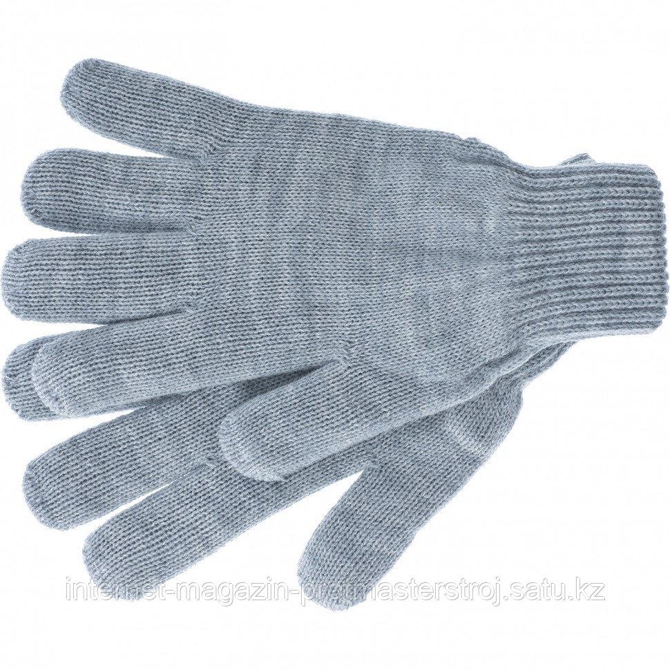 Перчатки трикотажные, акрил, серая туча, двойная манжета, Россия. СИБРТЕХ