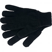 Перчатки трикотажные, акрил, чёрный, двойная манжета, Россия. СИБРТЕХ