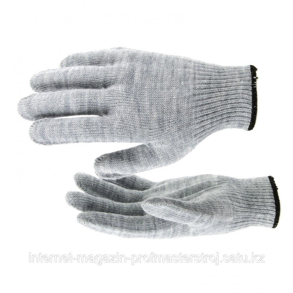 Перчатки трикотажные, акрил, серая туча, оверлок, Россия. СИБРТЕХ