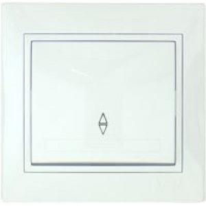 Выключатель 1-клавишный проходной L21 с/у белый Mira 701-0202-105