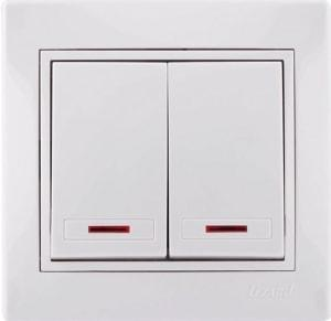 Выключатель 2-клавишный с/у белый Mira 701-0202-101