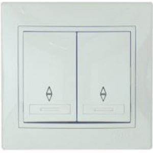 Выключатель 2-клавишный L22 проходной с/у белый Mira 701-0202-106