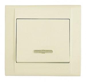 Выключатель 1-клавишный проходной с индикатором М39 с/у кремовый DEFNE 42010025