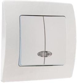 Выключатель 2-клавишный с индикатором М58 с/у белый LILLIUM KARE 32001023