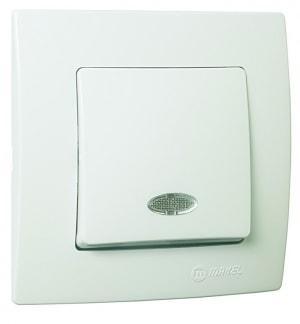 Выключатель 1-клавишный с индикатором М57 с/у белый LILLIUM KARE 32001021