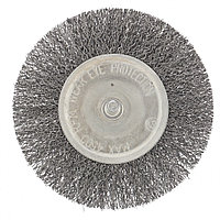 Щетка для дрели 100 мм, плоская со шпилькой, витая проволока. СИБРТЕХ