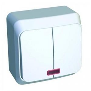 Выключатель 2-клавишный с индикатором S305 о/у белый ЭТЮД ВА10-006В