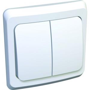 Выключатель 2-клавишный с/у белый S311 ЭТЮД ВС10-002В