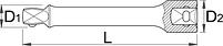 """Удлинитель с закруглённым концом, 1/4"""" 188.4/2S, фото 2"""