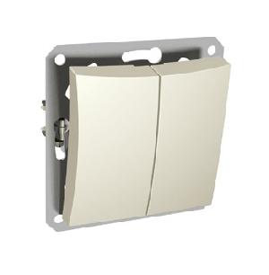 """Выключатель 2-клавишный с индикатором S342 10А с/у без рамки """"Дуэт"""" бежевый WDE253"""