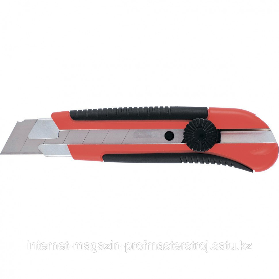Нож, 25 мм, выдвижное лезвие, металлическая направляющая, двухкомпонентный корпус, винтовой фиксатор, с магнитом. MATRIX