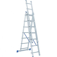 Лестница, 3x7 ступеней, алюминиевая, трехсекционная, СИБРТЕХ Россия