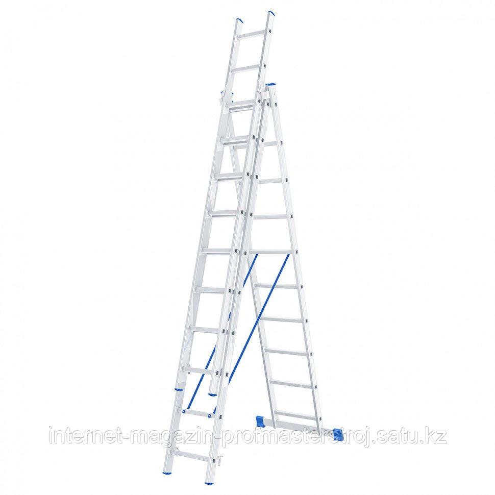 Лестница, 3x10 ступеней, алюминиевая, трехсекционная, СИБРТЕХ Россия