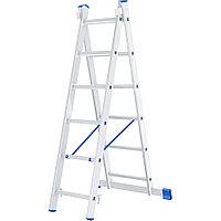 Лестница, 2 x 6 ступеней, алюминиевая, двухсекционная, СИБРТЕХ Россия