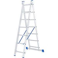 Лестница, 2 x 7 ступеней, алюминиевая, двухсекционная, СИБРТЕХ Россия