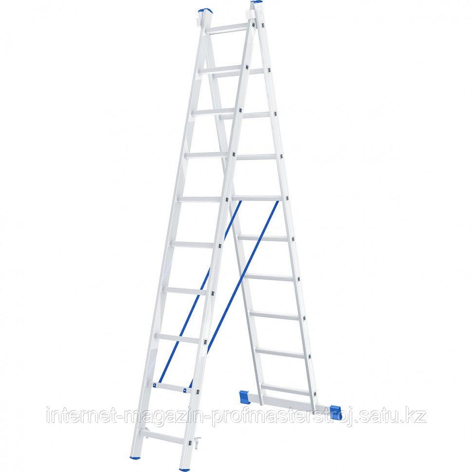 Лестница, 2 x 10 ступеней, алюминиевая, двухсекционная, СИБРТЕХ Россия