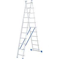 Лестница, 2 x 11 ступеней, алюминиевая, двухсекционная, СИБРТЕХ Россия