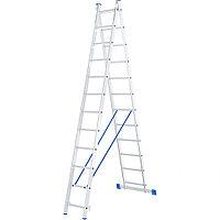 Лестница, 2 x 12 ступеней, алюминиевая, двухсекционная, СИБРТЕХ Россия